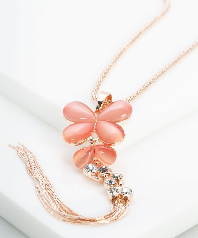 Butterfly & Crystal Tassel Necklace, Rose Gold/Rose Petal, hi-res