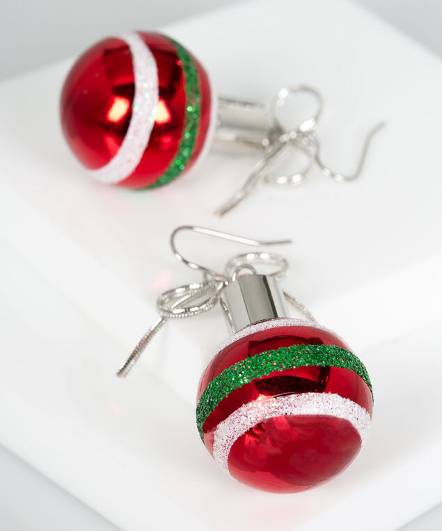Ball Ornament Earring, Crimson/Pearl/Rhodium, hi-res