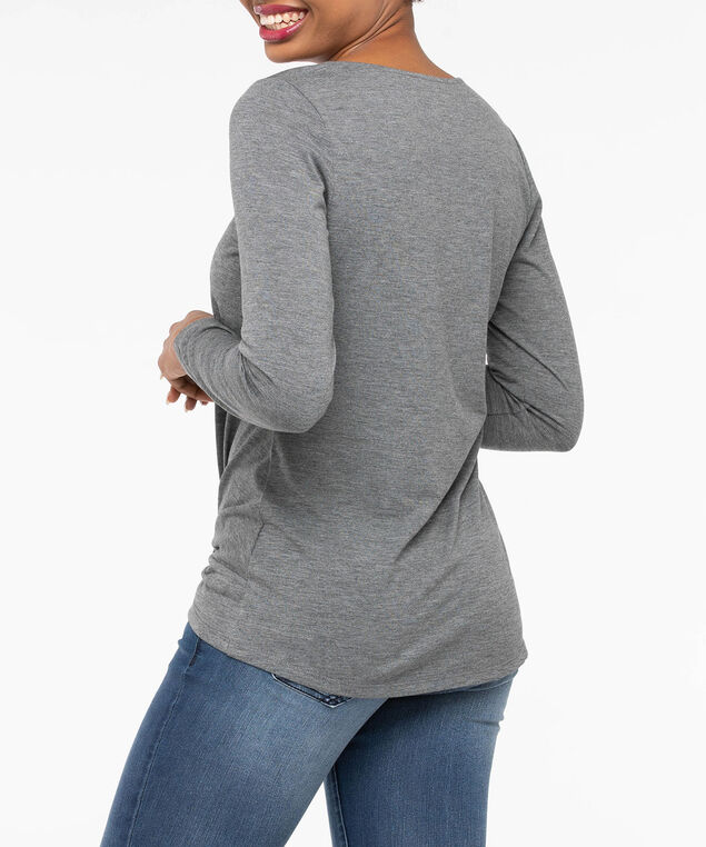 Long Sleeve Knot Front Top, Mid Heather Grey, hi-res
