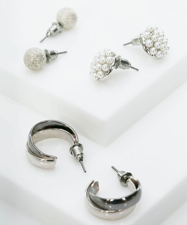 Earring Trio Set, Rhodium/True White, hi-res
