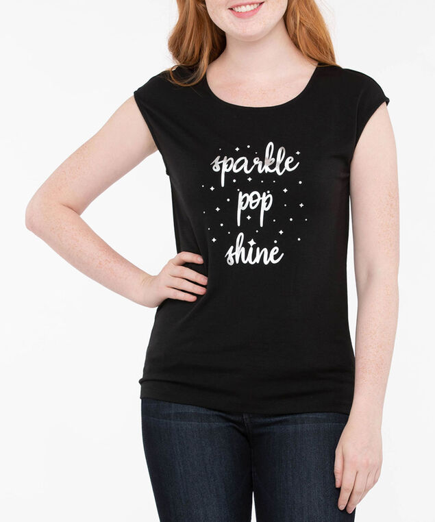 Foil Graphic Extended Sleeve Top, Black/Silver, hi-res