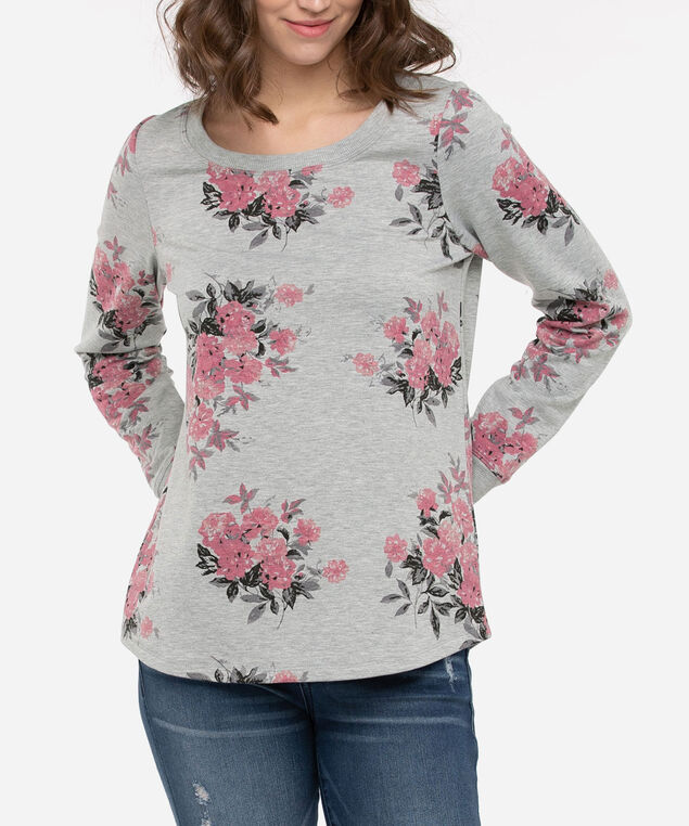 Floral Print Long Sleeve Top, Mid Heather Grey/Strawberry, hi-res