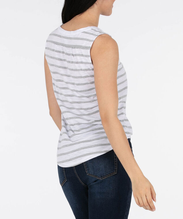Sleeveless Henley Tee, Grey/White/Silver, hi-res