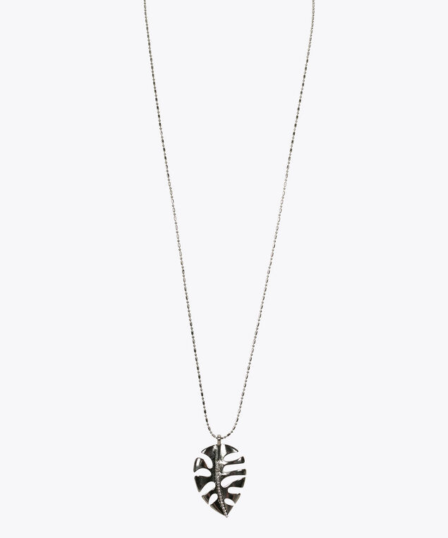 Palm Leaf Pendant Necklace, Rhodium, hi-res