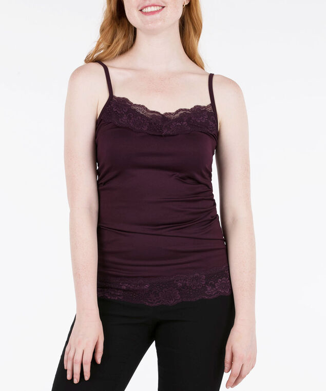 LACE TRIM STRAPPY CAMI, Plum, hi-res