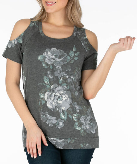 French Terry Cold Shoulder Top, Grey/Emerald, hi-res