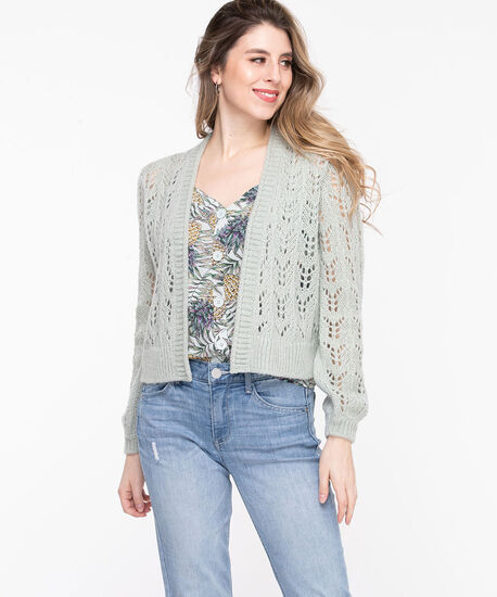Pointelle Cropped Open Cardigan, Frosty Mint, hi-res