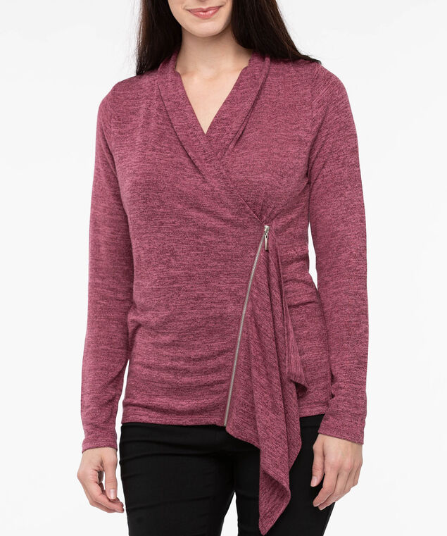Long Sleeve Zipper Cross Front Top, Burgundy/Soft Pink, hi-res