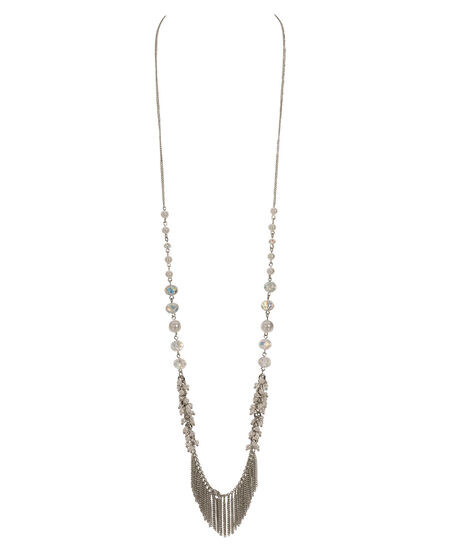 Pearl & Bead Fringe Necklace, White/Clear/Rhodium, hi-res