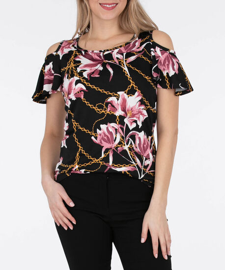 Flutter Sleeve Cold Shoulder Top, Black/Cameo Pink, hi-res