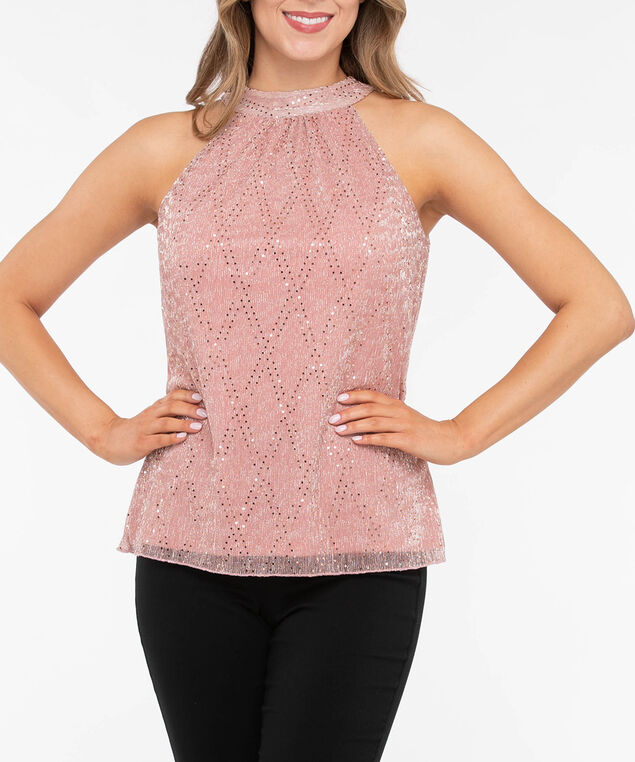 Sequin Plisse Pleat Halter Top, Blush Sparkle, hi-res