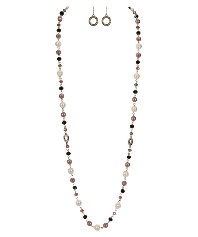 Stationed Pearl & Stone Necklace Set, Purple/White/Rhodium, hi-res