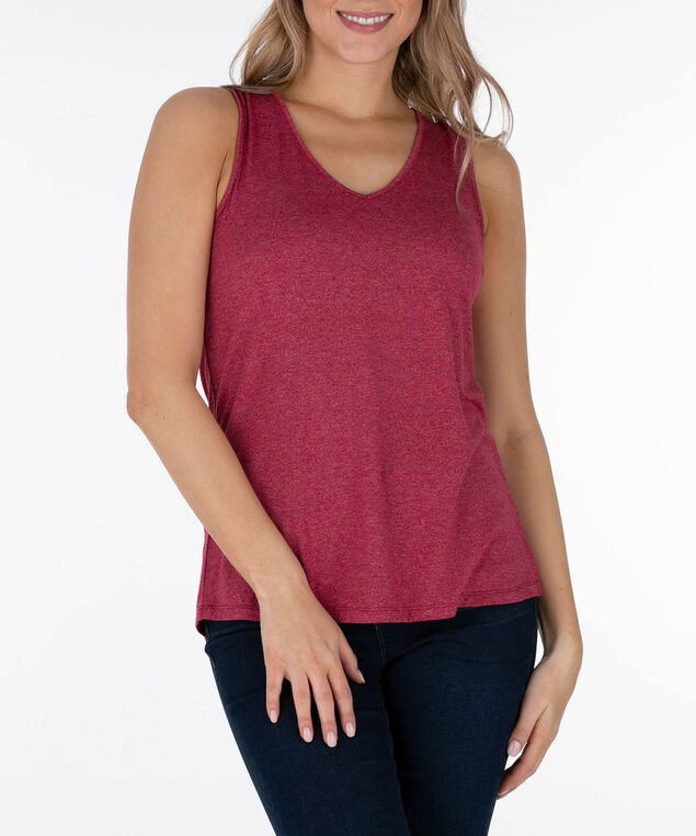 Lace-Up Back Sleeveless Top, Sangria, hi-res