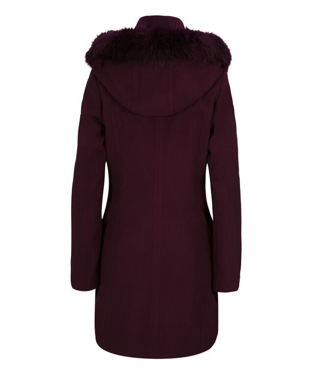 Fur Trim Hooded Coat, Wine, hi-res