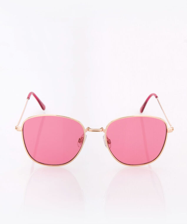 Pink Lens Aviator Sunglasses, Pink/Gold, hi-res