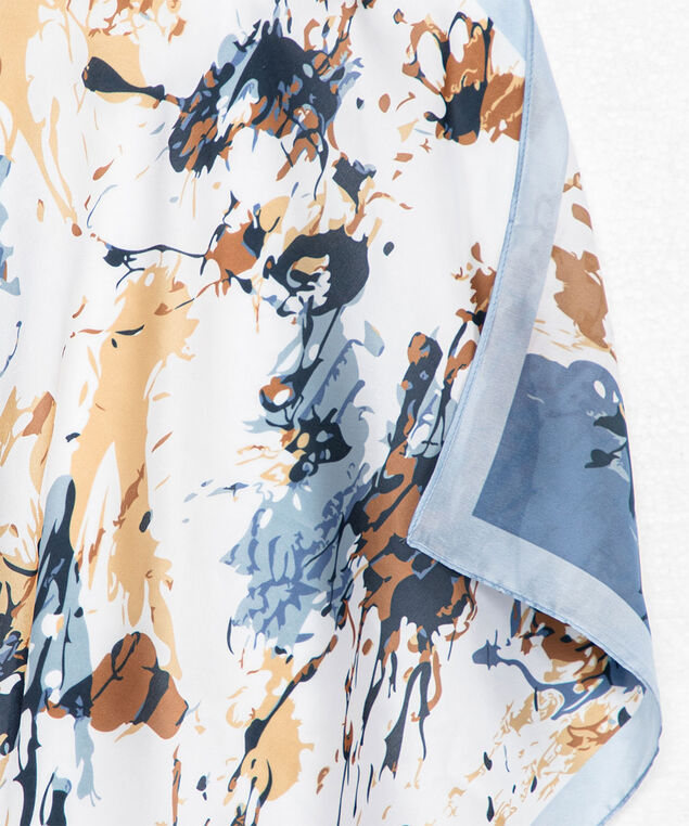 Abstract Floral Square Scarf, Heather/Whisper White/Nomad