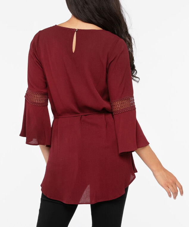 Cross Neck Crochet Trim Blouse, Dark Rust, hi-res