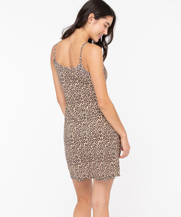 Strappy Leopard Print Nightdress, Black/Camel, hi-res