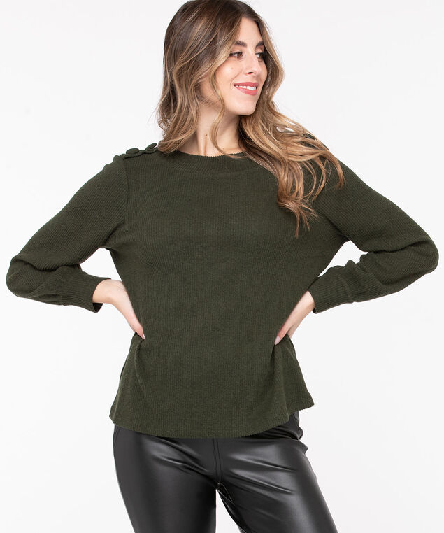 Balloon Sleeve Button Detail Top, Olive Night Mix, hi-res