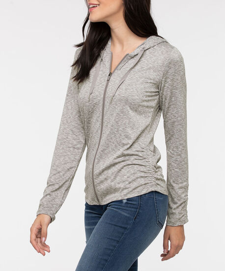 Zipper Front Ruched Hoodie, Dark Grey/Light Grey, hi-res