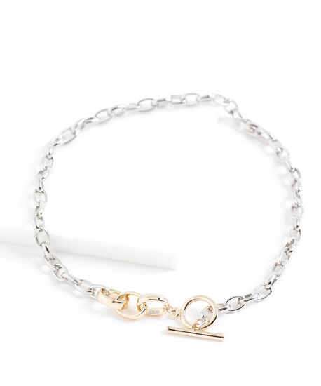 Mixed Metal Chain Link Necklace, Silver/Gold, hi-res