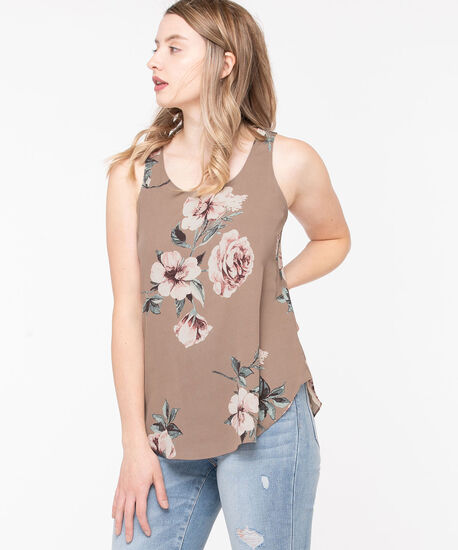 Pleat Back Woven Essential Cami, Taupe Floral, hi-res