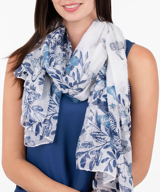 Butterfly Oblong Scarf, Summer Navy, hi-res