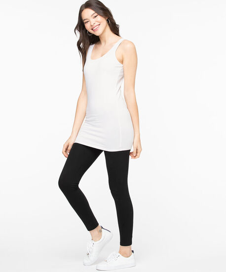 Scoop Neck Tunic Length Cami, White, hi-res