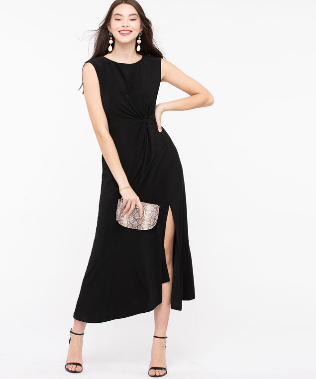 Sleeveless Knot Front Maxi Dress, Black, hi-res