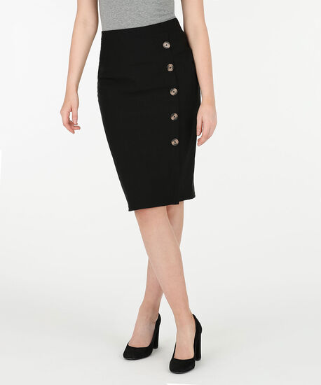 Microtwill Button Trim Skirt, Black, hi-res