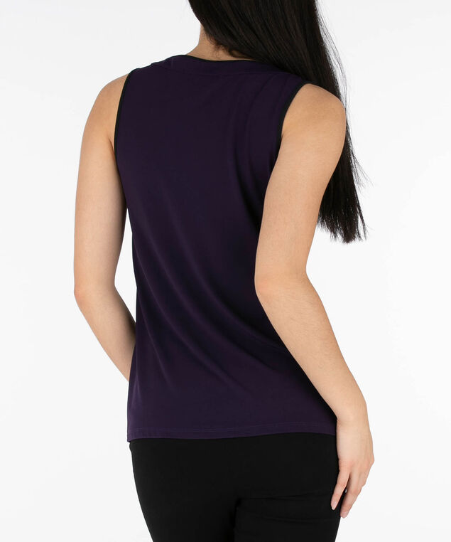 Ruffle Front Sleeveless Top, Deep Purple/Black, hi-res