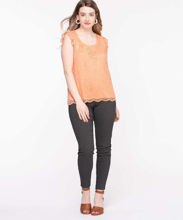 Lace Ruffle Sleeve Top, Coral Reef