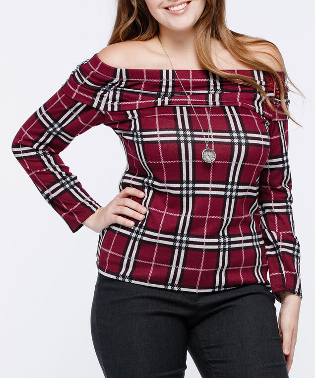 "Plaid ""Marilyn"" Off-The-Shoulder Top, Burgundy/Black/Light Heather Grey, hi-res"