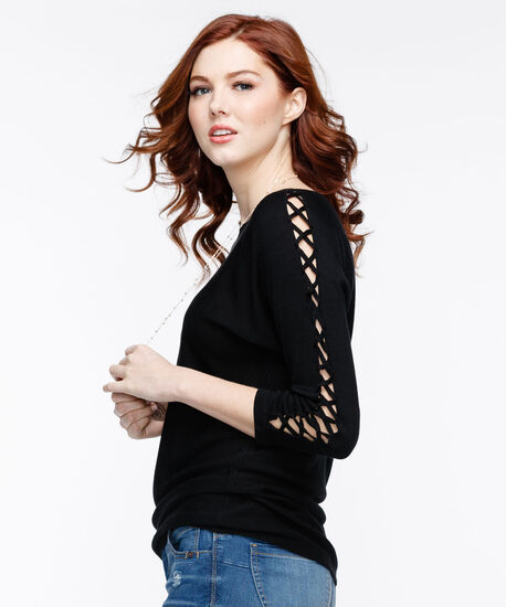 Lace-Up Sleeve Pullover Sweater, Black, hi-res