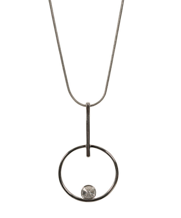 O-Ring & Crystal Pendant Necklace, Clear/Rhodium, hi-res