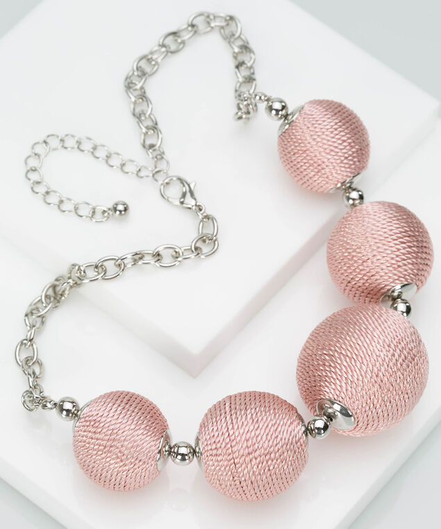Threaded Ball Statement Necklace, Petal Pink/Rhodium, hi-res