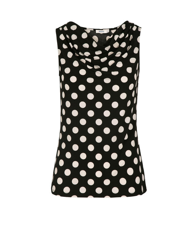 Pleated Cowl Neck Top, Black/White Dot, hi-res