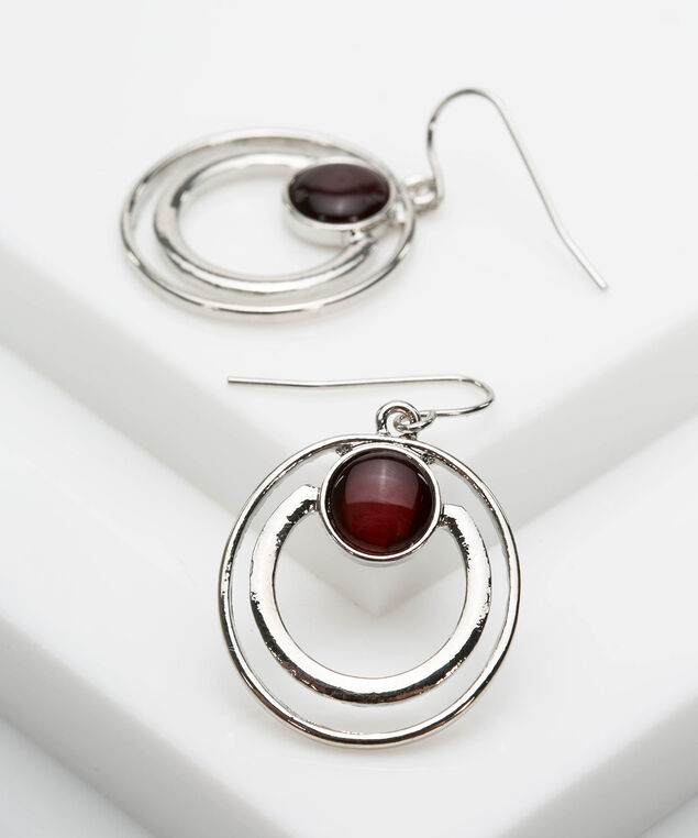 Double Circle Cateye Earrings , Rhodium/Burgundy, hi-res