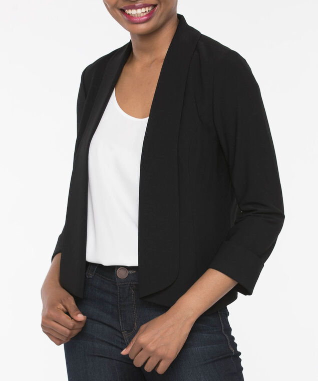 Easy Stretch Open Crop Blazer, Black, hi-res