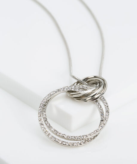 Intertwined Crystal Hoop Pendant Necklace, Rhodium, hi-res