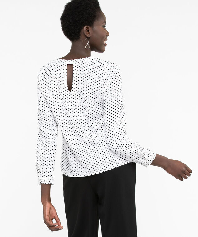 Long Sleeve V-Neck Blouse, Pearl/Black, hi-res
