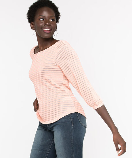 Chenille Shadow Stripe Pullover, Rose Smoke, hi-res