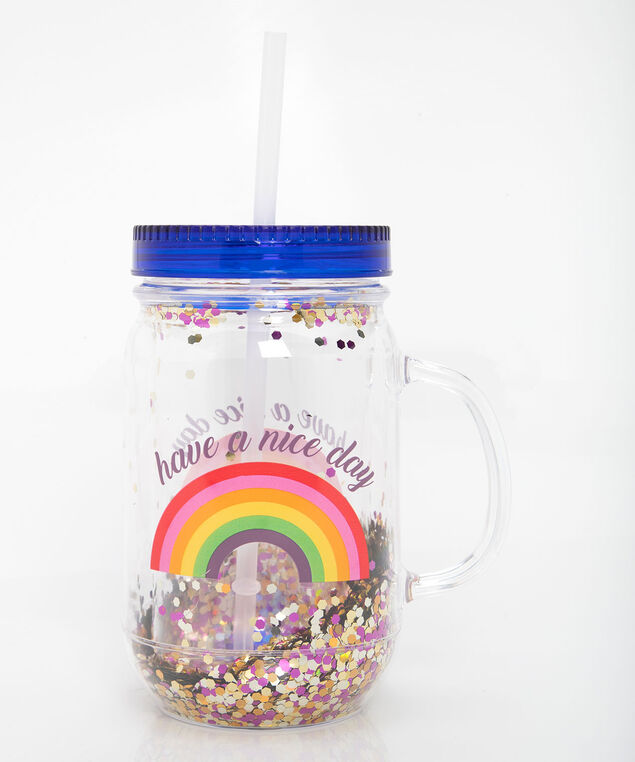 Rainbow Mason Jar With Straw, Marigold/Steel Blue, hi-res