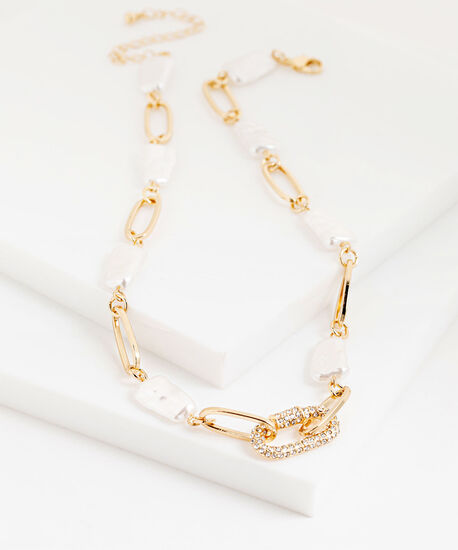 Washed Pearl & Gold Chain Necklace, Gold, hi-res