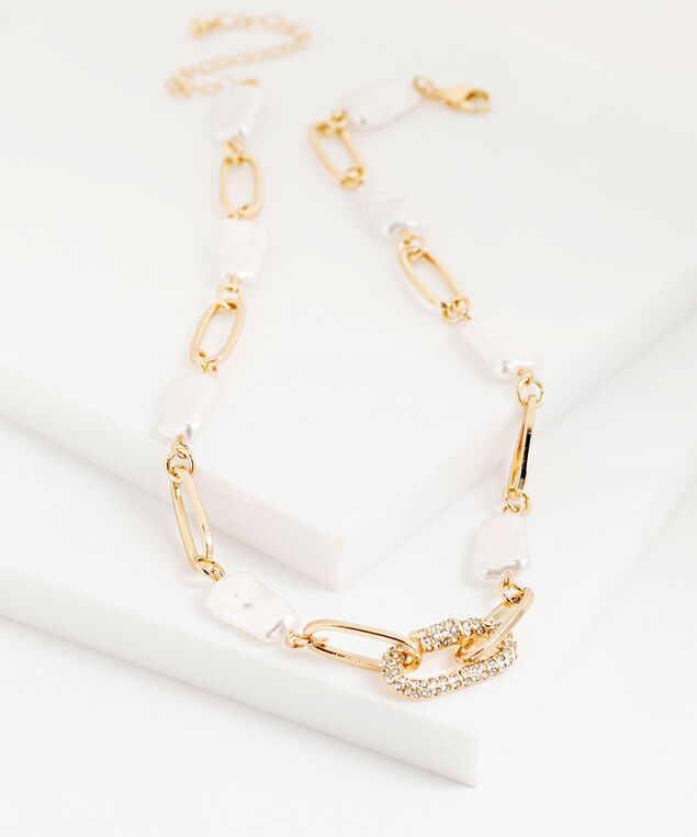 Washed Pearl & Gold Chain Necklace, Gold