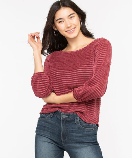Chenille Shadow Stripe Pullover, Windsor Wine, hi-res