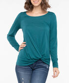 Long Sleeve Knot Front Top, Teal, hi-res