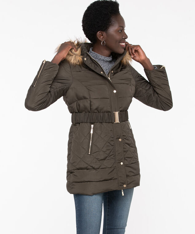 Quilted Belted Puffer Jacket, Olive Night, hi-res