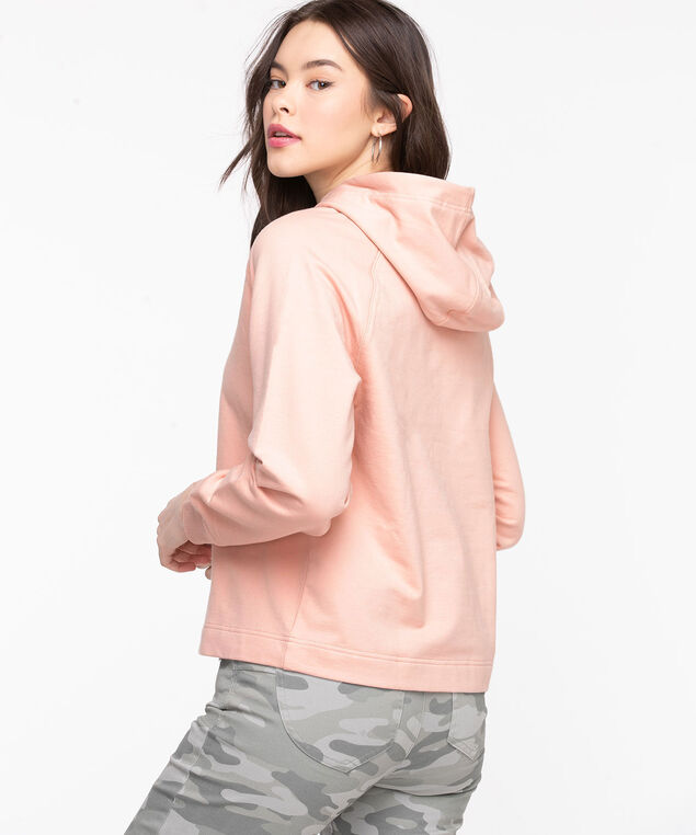 Long Sleeve Hooded Sweatshirt, Rose Smoke