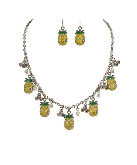 Pineapple Charm Necklace Set, Yellow/Green/Rhodium, hi-res